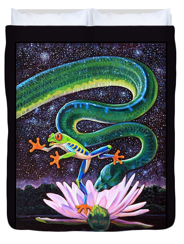 Frog Duvet Cover featuring the painting Serpent In The Garden by John Lautermilch