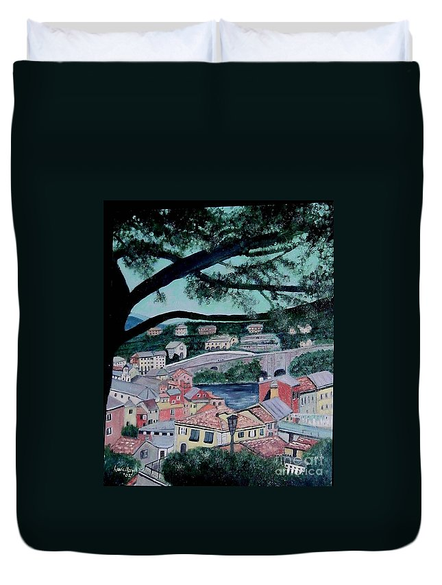 Italy Duvet Cover featuring the painting Sestri Levante by Laurie Morgan