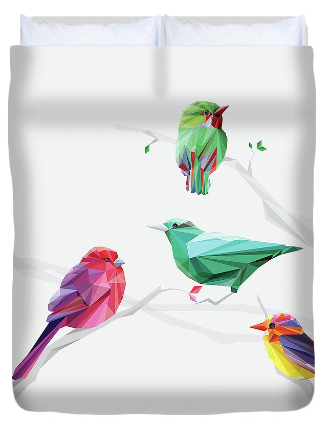 Funky Duvet Cover featuring the digital art Set Of Abstract Geometric Colorful Birds by Pika111