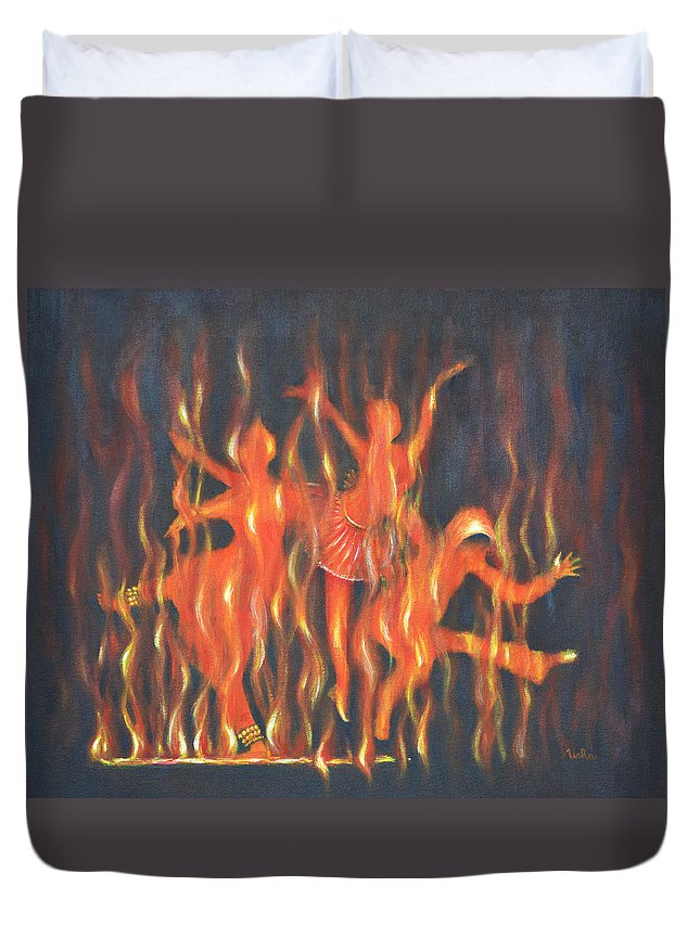 Dance Duvet Cover featuring the painting Setting The Stage On Fire by Usha Shantharam