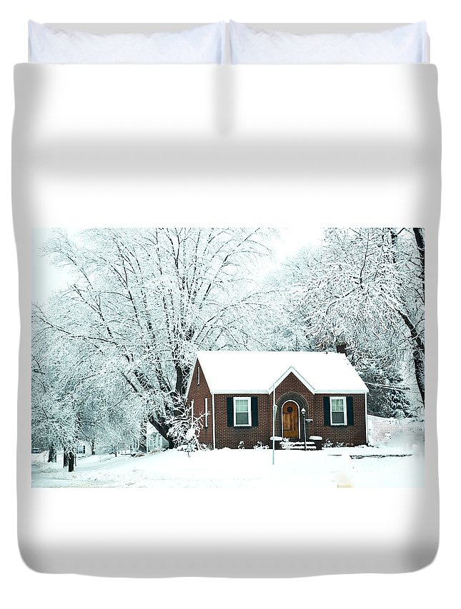 Settled In For The Wintersnow Scene Duvet Cover featuring the photograph Settled In For The Winter by Luther Fine Art