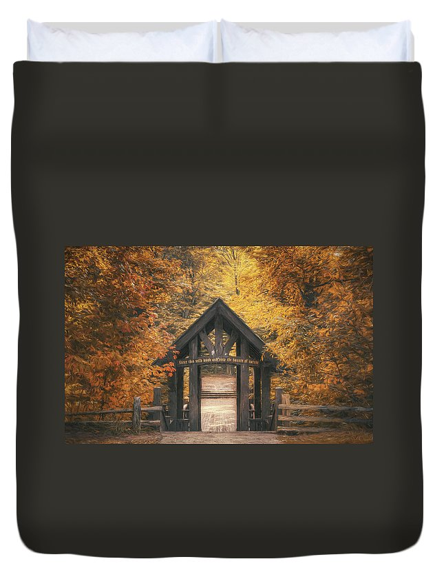 Forest Duvet Cover featuring the photograph Seven Bridges Trail Head by Scott Norris
