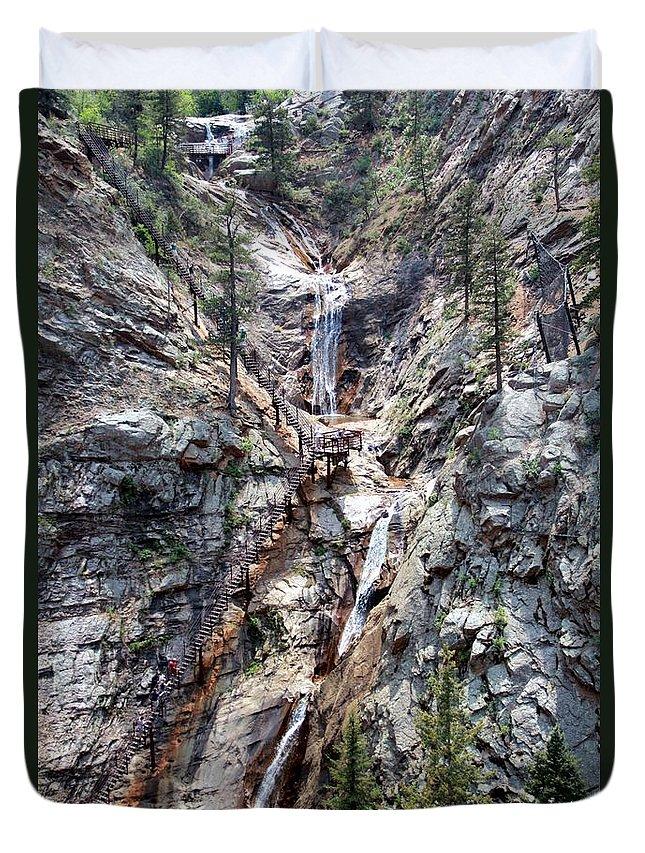 Seven Falls Duvet Cover featuring the photograph Seven Falls by Victoria Sanchez