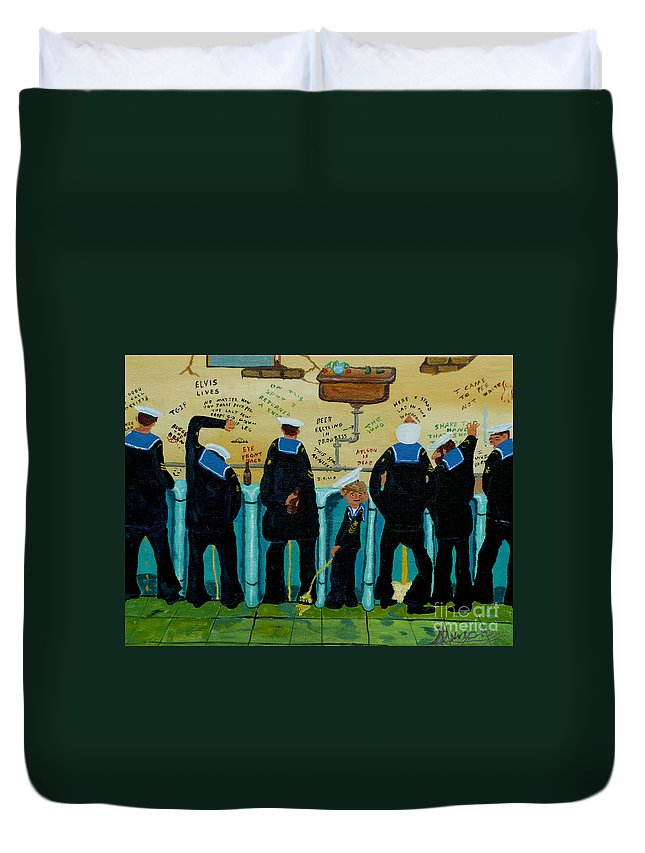 Sailors Duvet Cover featuring the painting Seven Sailors by Anthony Dunphy
