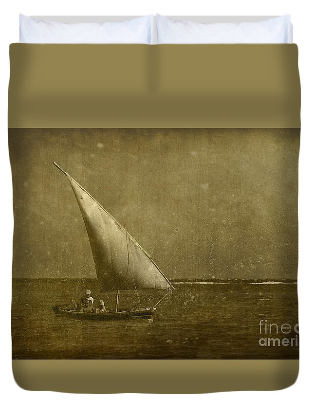 Festblues Duvet Cover featuring the photograph Seven Seas... by Nina Stavlund