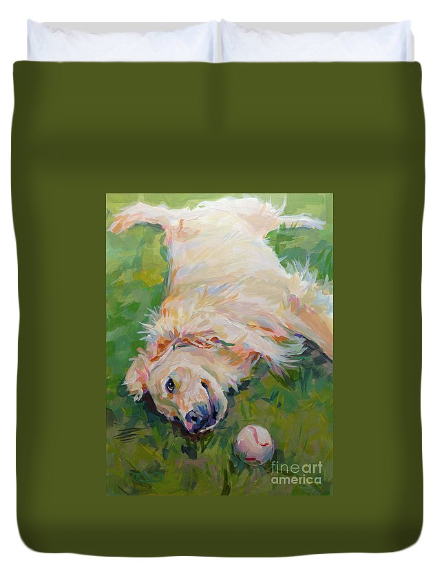 Golden Duvet Cover featuring the painting Seventh Inning Stretch by Kimberly Santini