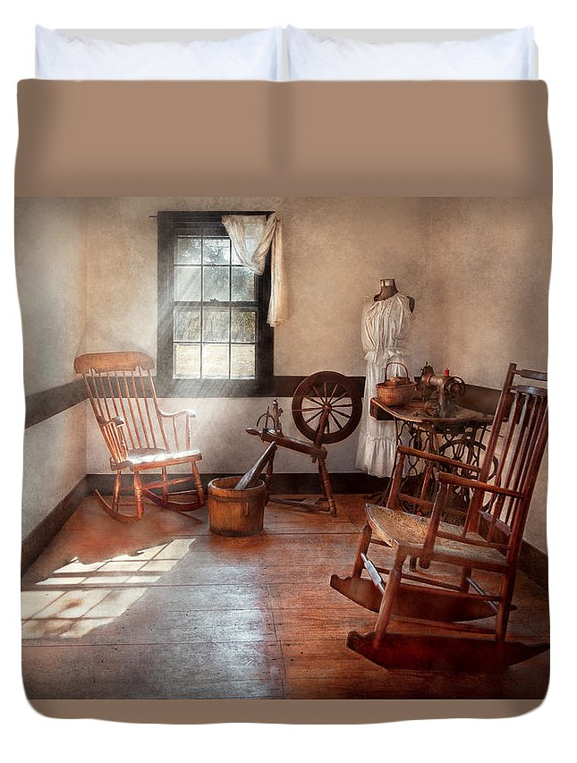 Savad Duvet Cover featuring the photograph Sewing - Room - Grandma's Sewing Room by Mike Savad