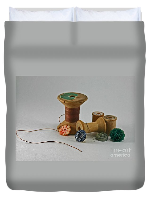 Brown Duvet Cover featuring the photograph Sewing by Sandra Clark