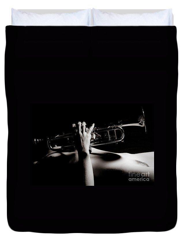 Abdomen Duvet Cover featuring the photograph Sexy Trumpet by Jt PhotoDesign