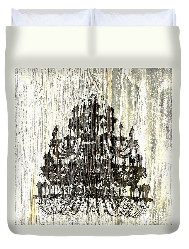 Chandelier Duvet Cover featuring the photograph Shabby Chic Rustic Black Chandelier On White Washed Wood by Suzanne Powers