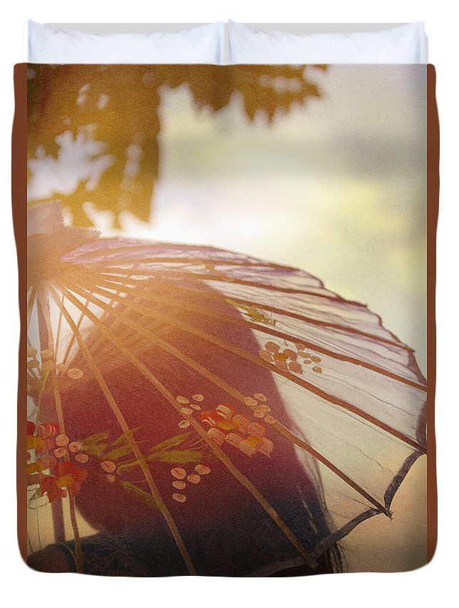 Chinese; Woman; Female; Lady; Pretty; Beautiful; Feminine; Prim; Proper; Umbrella; Shade; Parasol; Cover; Brunette; Decor; Ornate; Orient; Oriental; Leaves; Sunset; Clouds Duvet Cover featuring the photograph Shaded From The Sun by Margie Hurwich
