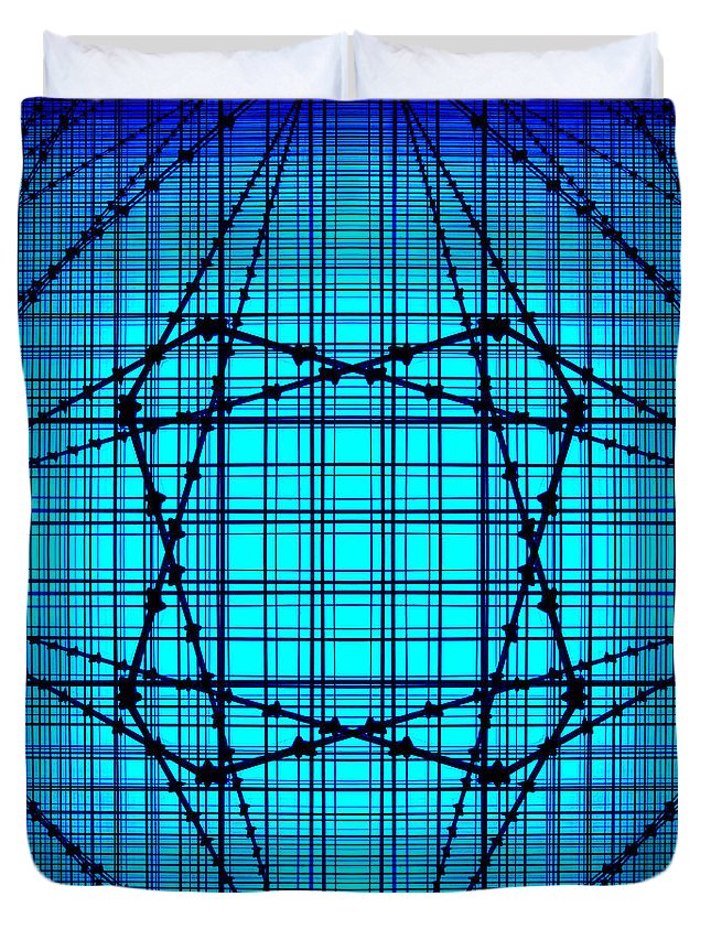Blue Lines Duvet Cover featuring the photograph Shades 14 by Mike McGlothlen