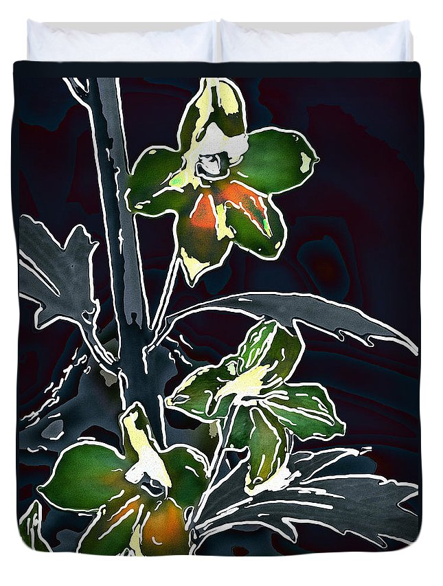 Flowers Duvet Cover featuring the digital art Shades Of Green And Gray by Jo-Anne Gazo-McKim