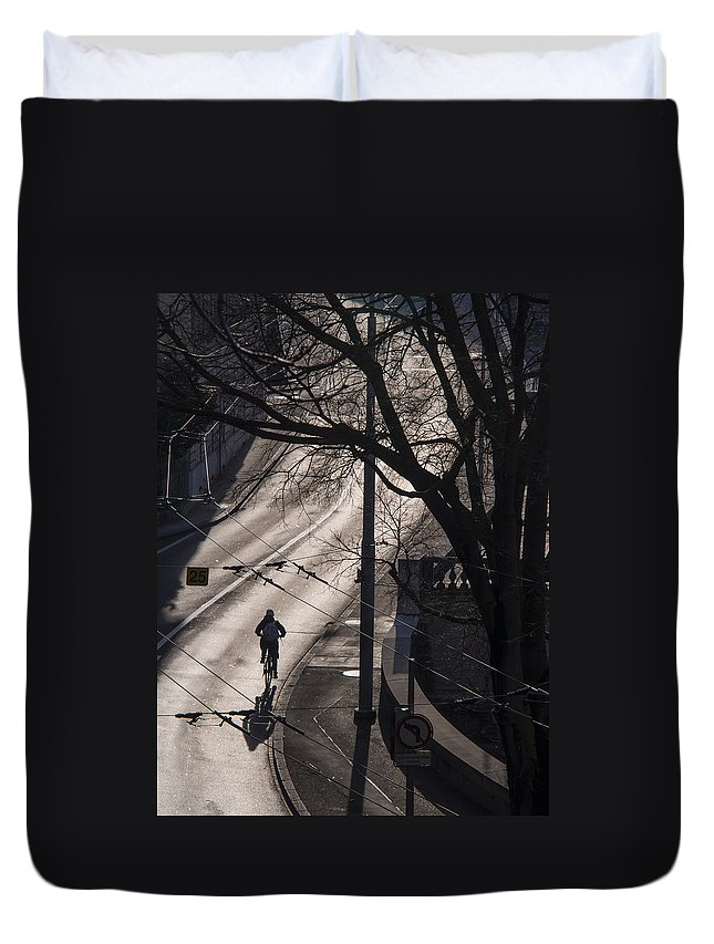 Shadow Duvet Cover featuring the photograph Shadow And Light by Muhie Kanawati
