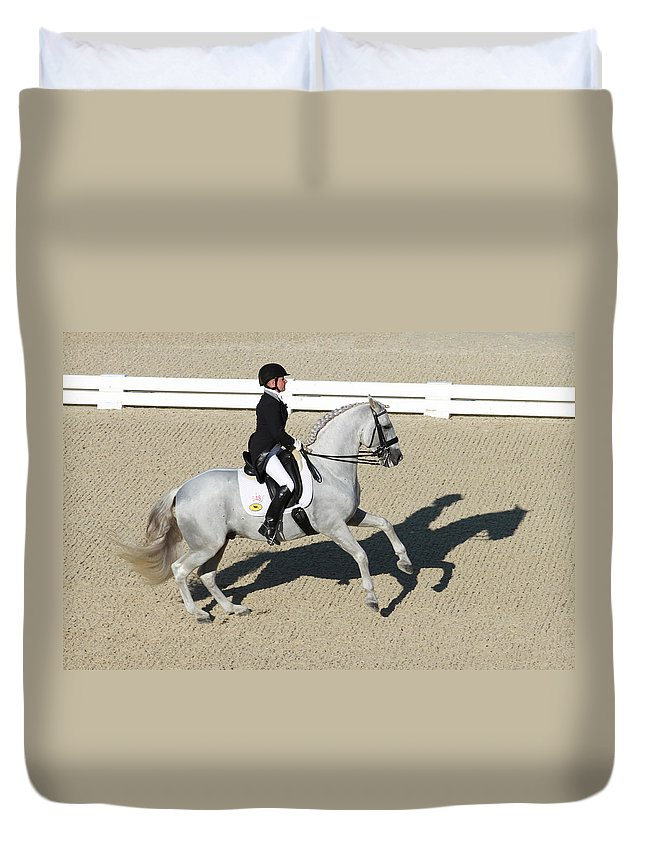 Dressage Rider Duvet Cover featuring the photograph Shadow Elegant by Alice Gipson