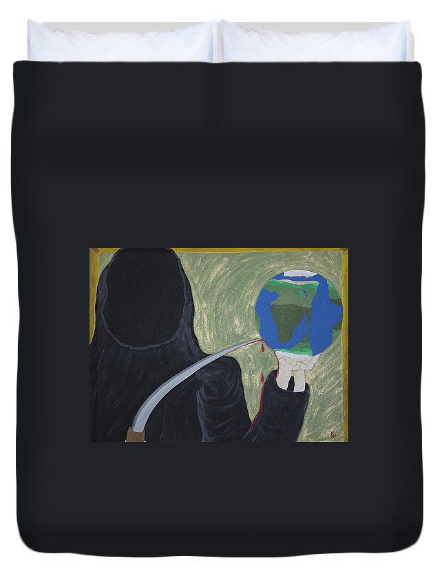 Painting Duvet Cover featuring the painting Shadow Of Fear by Dean Stephens