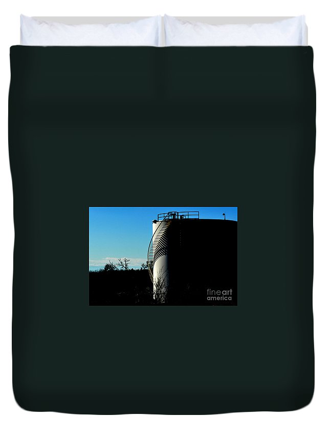 Oilfield Duvet Cover featuring the photograph Shadow Site by Anjanette Douglas