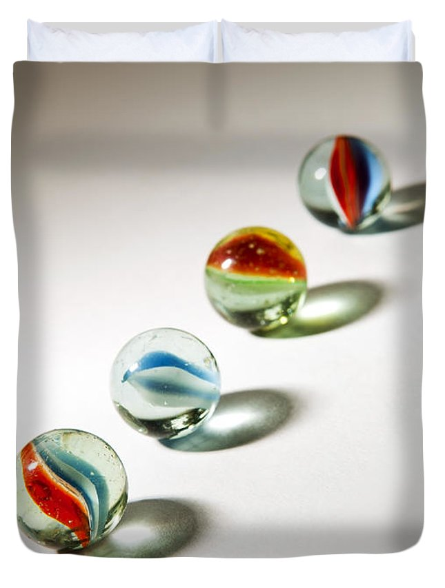 Abstract Duvet Cover featuring the photograph Shadowed Marbles by Tim Hester