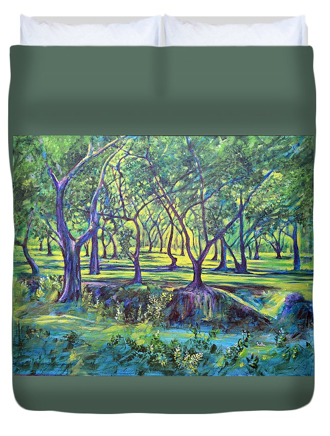 Landscape Duvet Cover featuring the painting Shadows At Noon - Indian Landscapes by Usha Shantharam