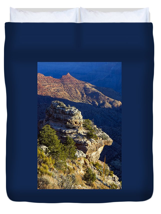 Grand Canyon National Park Arizona Parks South Rim Canyons Rock Formations Rock Formation Sunrise Sunrises Landscape Landscapes Duvet Cover featuring the photograph Shadows In The Canyon by Bob Phillips