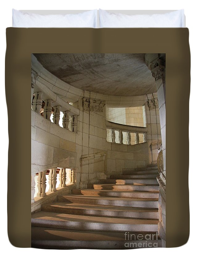 Staircase Duvet Cover featuring the photograph Shadows On Chateau Chambord Stairs by Christiane Schulze Art And Photography