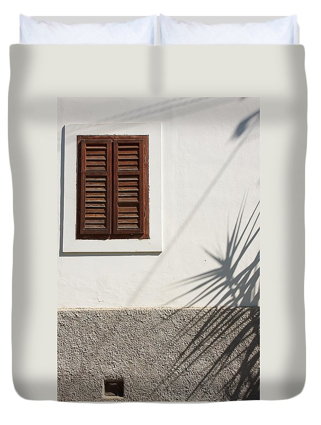 Architectural Feature Duvet Cover featuring the photograph Shadows On Old House. by Jan Brons