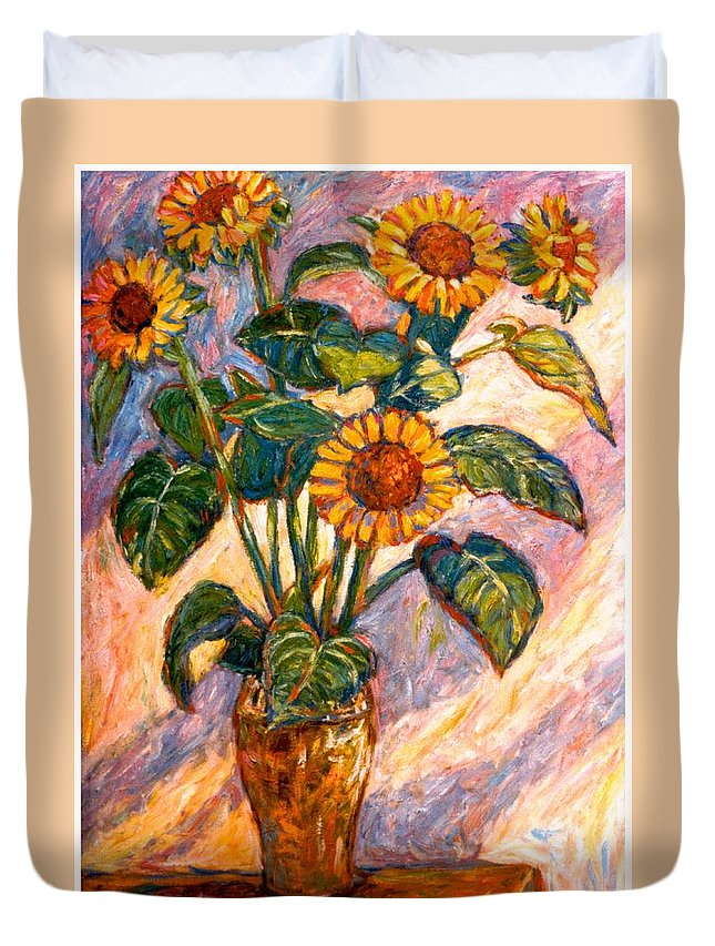 Floral Duvet Cover featuring the painting Shadows On Sunflowers by Kendall Kessler