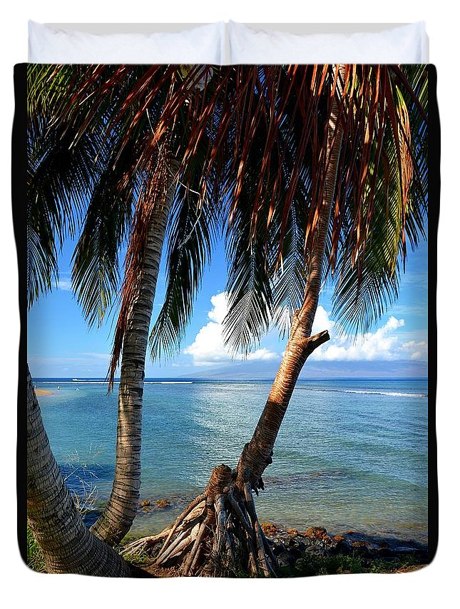 Shady Palm Beach Duvet Cover featuring the photograph Shady Palm Beach by Patrick Witz