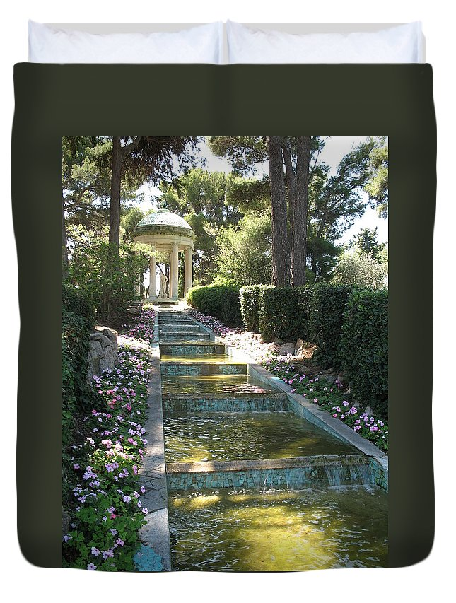 Villa Duvet Cover featuring the photograph Shady Pavilion by Christiane Schulze Art And Photography