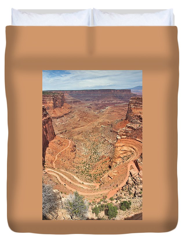 3scape Duvet Cover featuring the photograph Shafer Trail by Adam Romanowicz