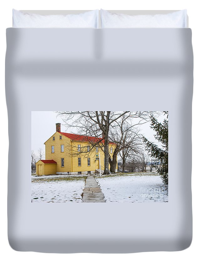 Shaker House Duvet Cover featuring the photograph Shaker House - Mustard by Mary Carol Story