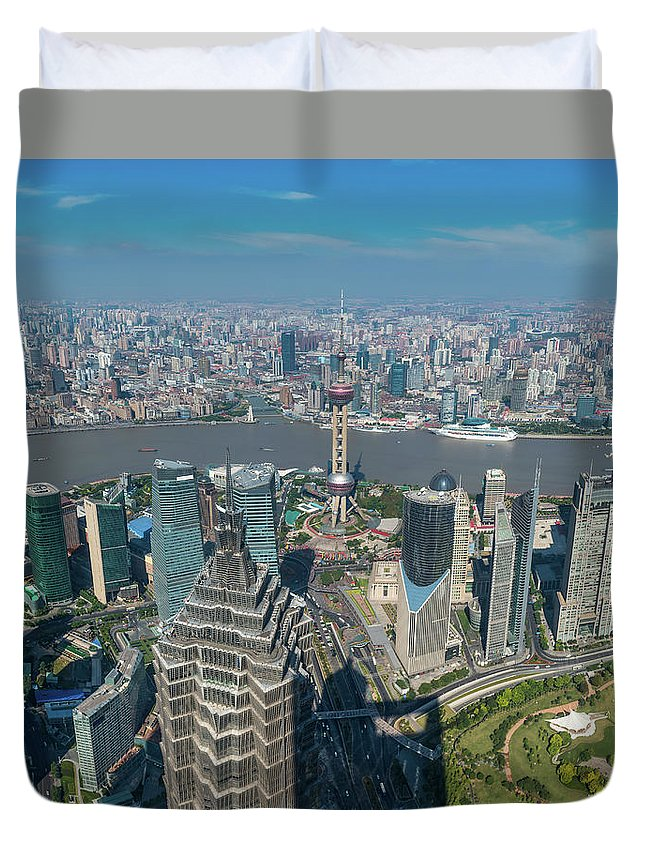 Chinese Culture Duvet Cover featuring the photograph Shanghai Aerial View Over Pundong by Fotovoyager