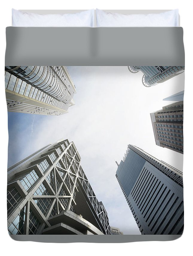 Downtown District Duvet Cover featuring the photograph Shanghai Stock Exchange,china - East by Zyxeos30