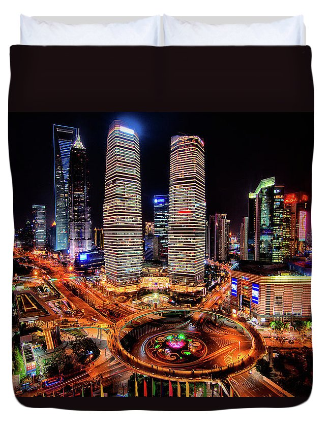 Financial District Duvet Cover featuring the photograph Shanghais Financial City Center by Mimo Khair Photography