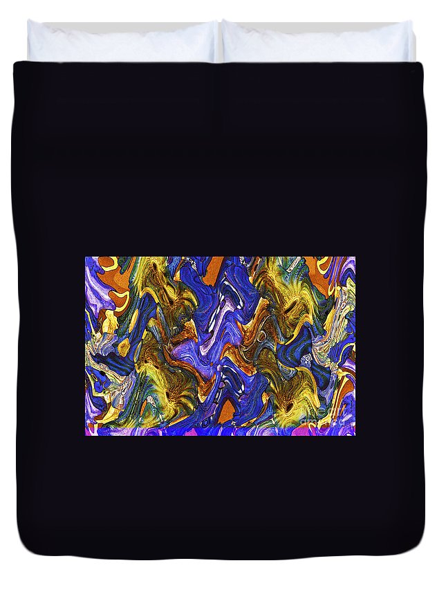 Abstract Duvet Cover featuring the digital art Shapes 6 by Michael Anthony
