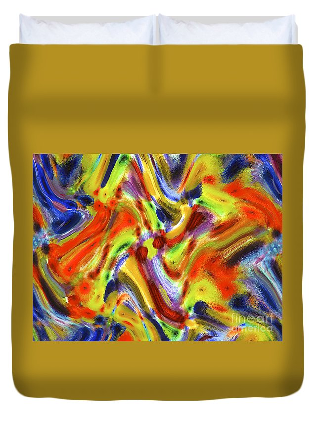 Abstract Duvet Cover featuring the digital art Shapes 8 by Michael Anthony