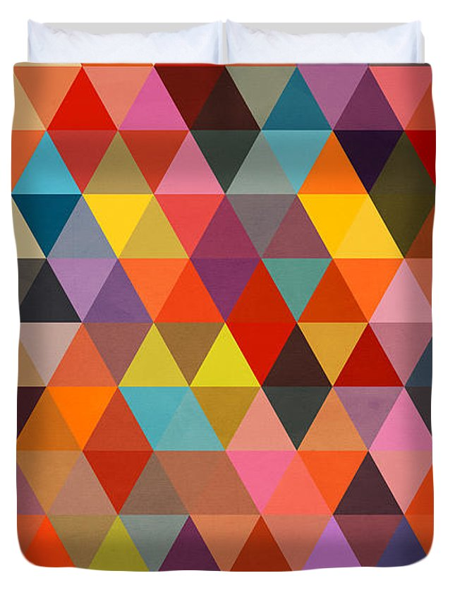 Contemporary Duvet Cover featuring the painting Shapes by Mark Ashkenazi