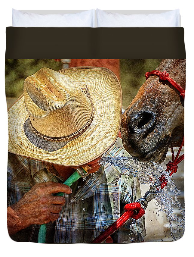 Equine Fine Art Duvet Cover featuring the photograph Sharing by Annette Coady