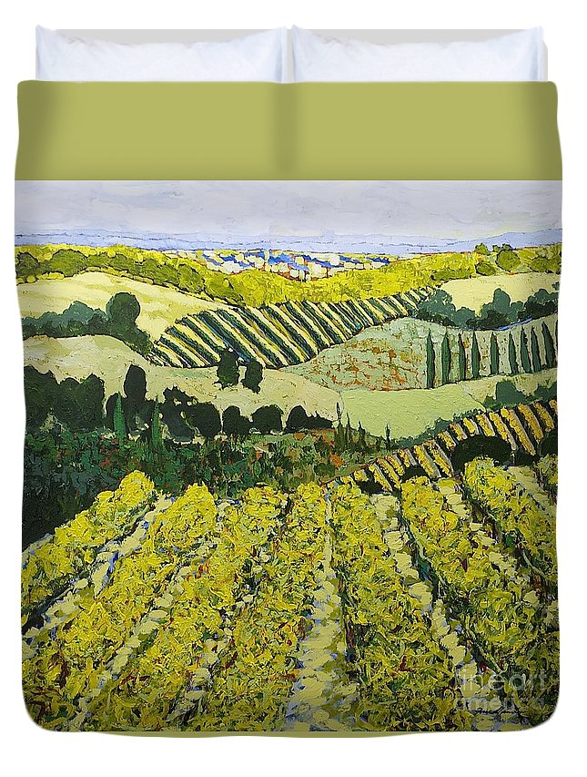 Landscape Duvet Cover featuring the painting Sharing The Discovery by Allan P Friedlander