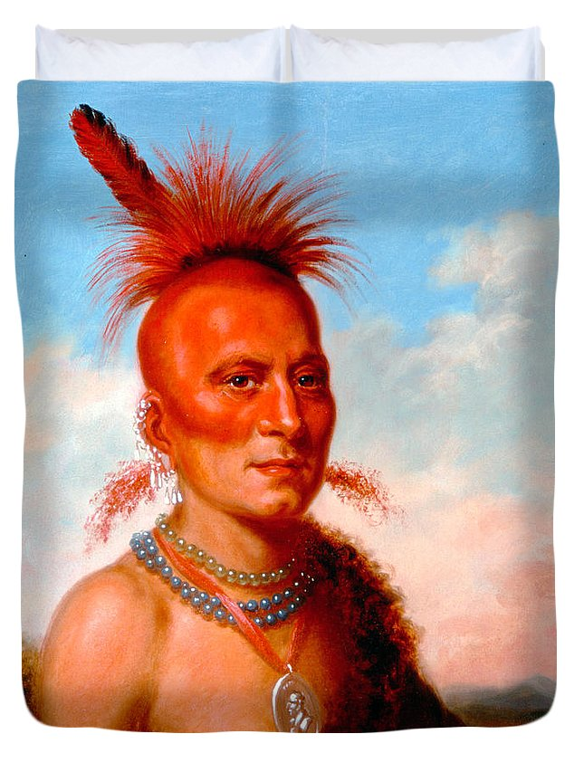 Charles Bird King Duvet Cover featuring the painting Sharitarish. Wicked Chief. Pawnee by Charles Bird King