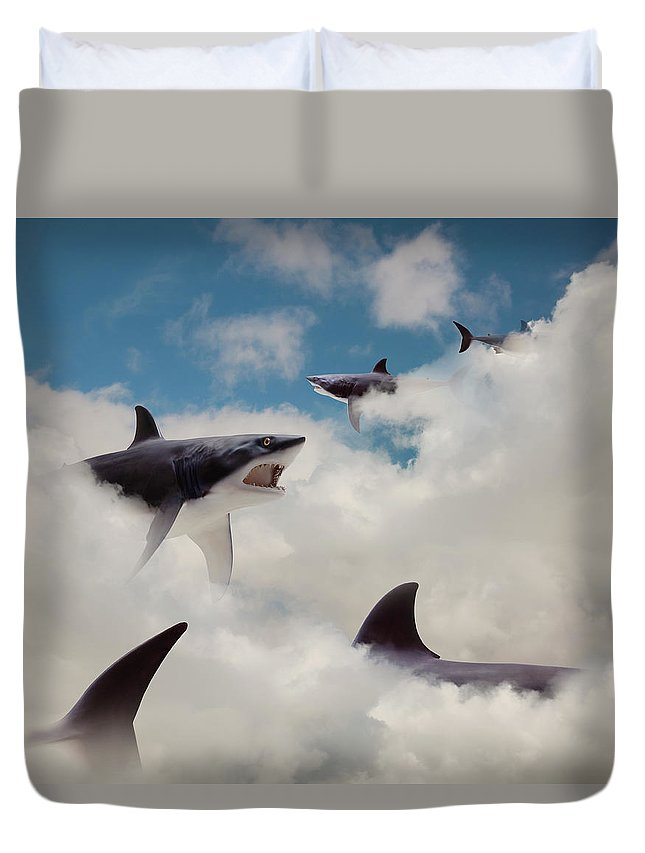 Risk Duvet Cover featuring the photograph Sharks Floating In Clouds by John M Lund Photography Inc