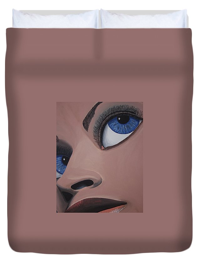 Eye Catching Duvet Cover featuring the painting SHE by Dean Stephens