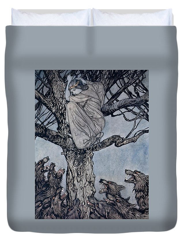 Fairy Story; Fairy Tale; Female; Tree; Wolf; Snarling; Branches; Hiding; Princess; Irish Mythology; Myth; Legend Duvet Cover featuring the drawing She Looked With Angry Woe At The Straining And Snarling Horde Below Illustration From Irish Fairy by Arthur Rackham