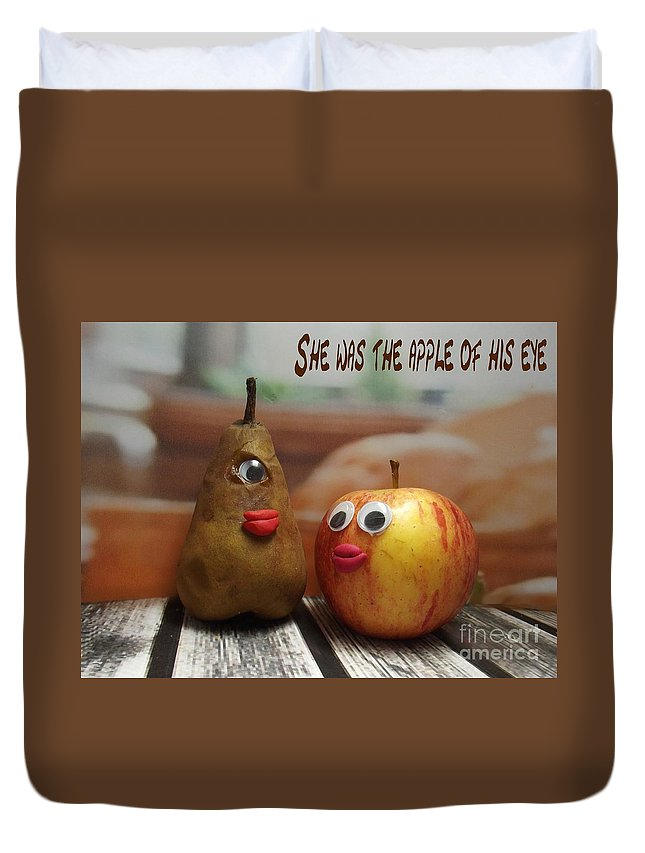 Funny Fruit Photograph Duvet Cover featuring the photograph She Was The Apple Of His Eye by Caroline Peacock