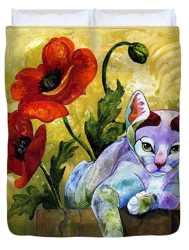 Cat Duvet Cover featuring the painting Sheba by Sherry Shipley