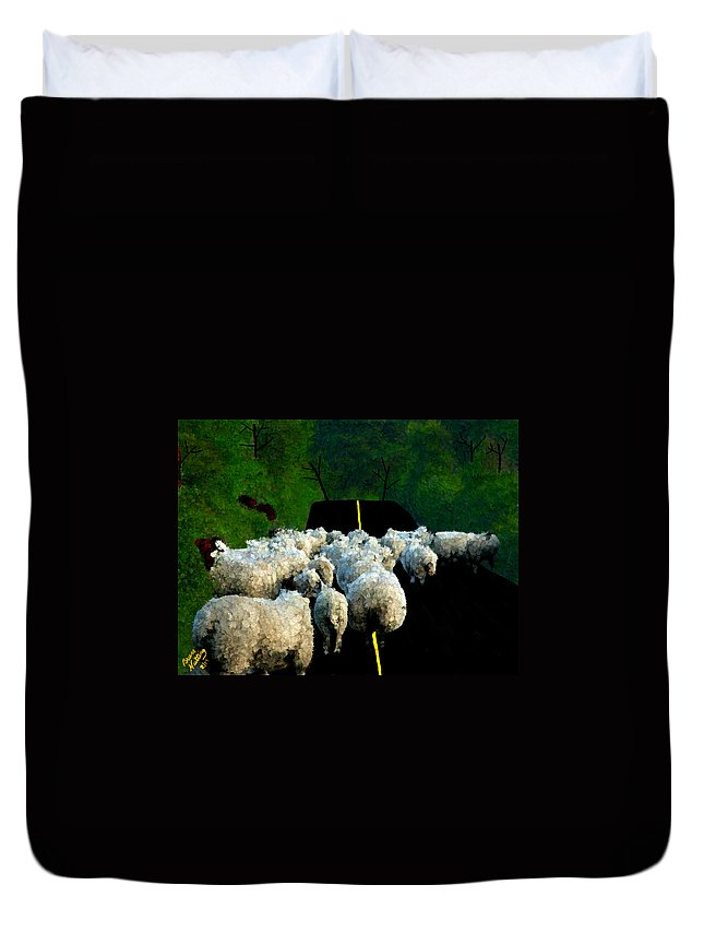 Sheep Duvet Cover featuring the painting Sheep In Ireland by Bruce Nutting
