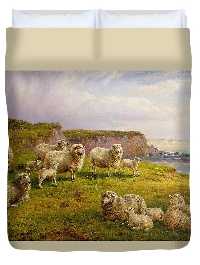 Sheep Duvet Cover featuring the painting Sheep On A Dorset Coast by Charles Jones