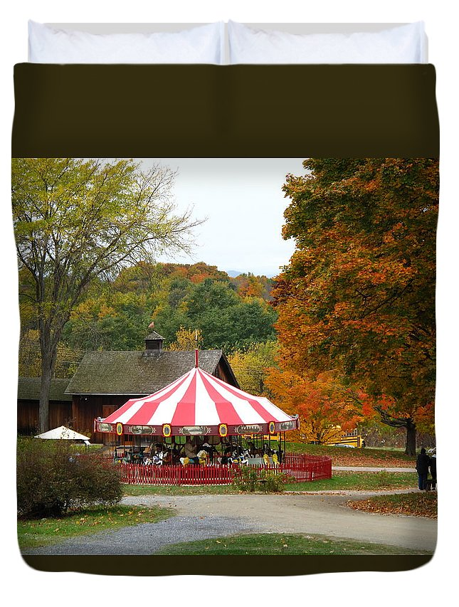 Carousel Duvet Cover featuring the photograph Shelbourne Vermont Antique Carousel by Barbara McDevitt