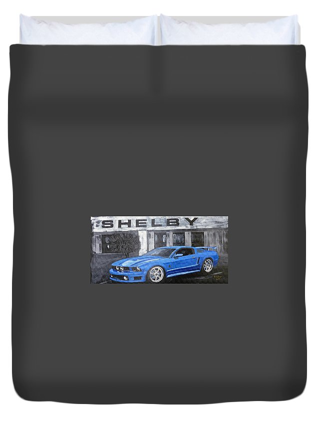 Shelby Duvet Cover featuring the painting Shelby Mustang by Richard Le Page