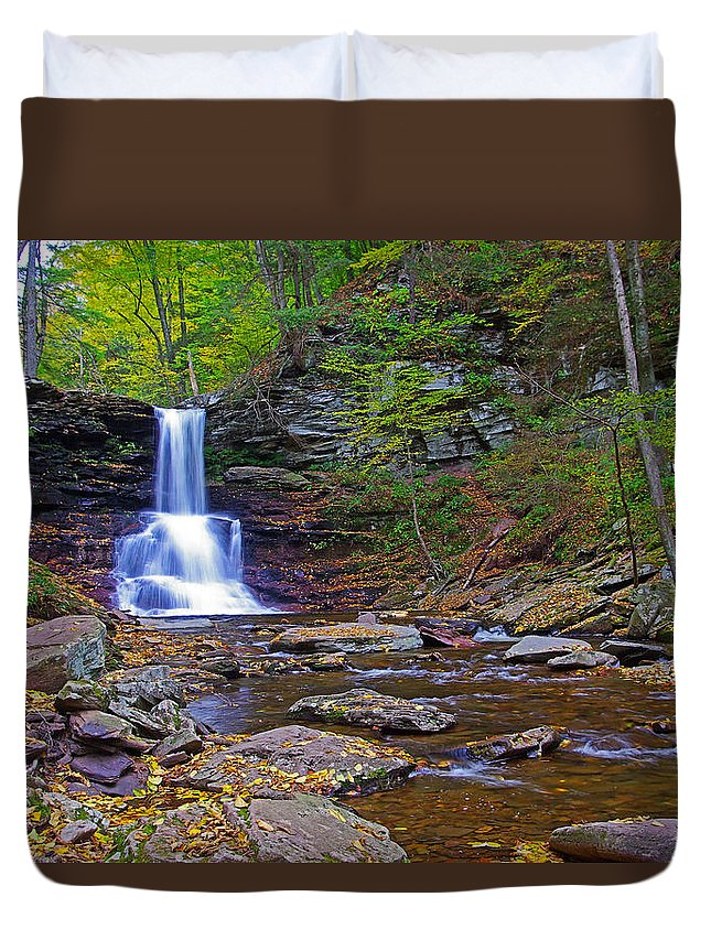 Pa Duvet Cover featuring the photograph Sheldon Reynolds Falls Autumn by Rich Walter